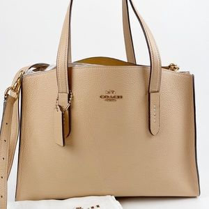 Coach Charlie Carryall Tan Leather Tote 25137
